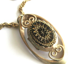 Vintage Victorian Style Carved Black and Gold Locket / Photo Locket Pendant Necklace