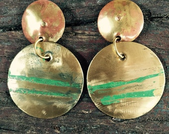 Gold Earrings with Green Patina