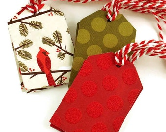 Funky Tags  Large Paper Gift Tags in Holiday Mix Set of 12  (15A)