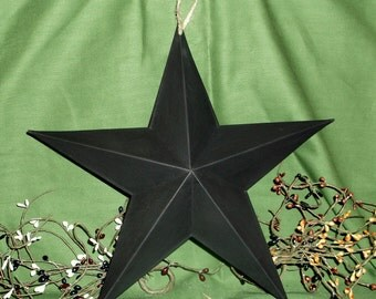 "12"" Black stressed Tin Primitive Metal Star Wall Hanger Country"