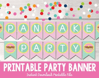 Printable Pancake Party Banner PDF with Pink Chevron Stripes Digital Design INSTANT DOWNLOAD