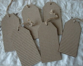 Kraft tags corrugated with wood backing set of 6 rustic tags party favor kraft tags DIY wedding party favor craft supplies