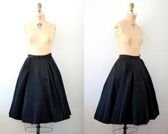 Vintage 50s Black Satin Pleated Party Circle Skirt
