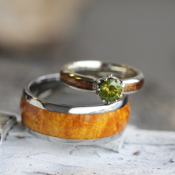 peridot wedding rings unique wood wedding ring set peridot engagement ring in 10k 6465
