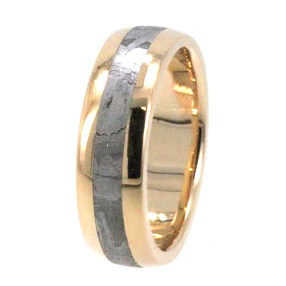 handmade gibeon meteorite wedding band 14k yellow gold ring