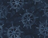 NEW - Cadet Blue Ships Wheel Tonga Batik - Judy Niemeyer fabric B4005