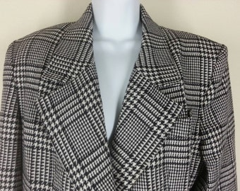 Vtg Lilli Ann houndstooth black and white plaid wool blazer suit jacket size medium chest 42in.