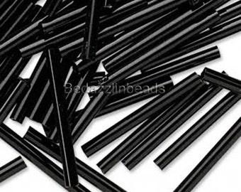 20 Opaque Jet Black Czech Glass 1 inch (25mm) Long Bugle Tube Loose Beads