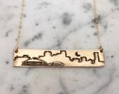 new orleans skyline bronze necklace
