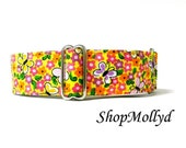 Butterflies on Yellow, Martingale collar, 2 in martingale, greyhound martingale, galgo collar, greyhound, Great Dane, Wolfhound, Large Dog