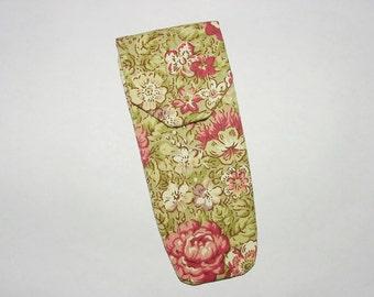 Eyeglass Sunglass Case Holder Pouch Pocket: Green Rose Flower Print Clearance 30% Off