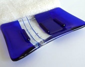 Fused Glass Soap Dish in Cobalt Blue