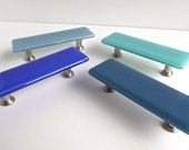 Decorative Blue Fused Glass Cabinet or Drawer Pulls