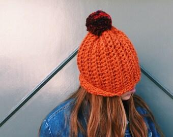 Sale! Pumpkin Orange Hat. Chunky Pom Pom Slouchy Beanie. One of a kind. Ready to Ship