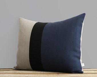 Navy Blue, Black and Natural Linen Colorblock Pillow Cover (16x20) by JillianReneDecor, Modern, Masculine Home Decor, Stripe Trio, Stripes