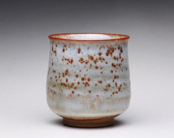 handmade pottery cup, yunomi, ceramic teacup, tumbler with white shino glazes