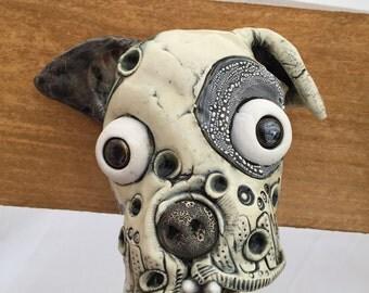 Dog Mask, ceramic head, wall hanging