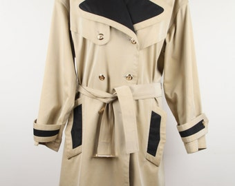 CHANEL BOUTIQUE Vintage Tan Cotton Double Breasted Trench Coat Sz 36 ST