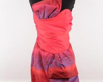 EGON VON FURSTEMBERG Vintage Red & Purple Bustier Mini Ruched Dress Sz 40 it ec