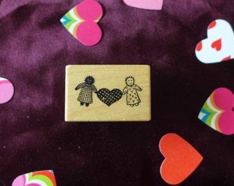 Vintage PSX Primitive Rag Doll Rubber Stamp / Heart / Black and White Dolls