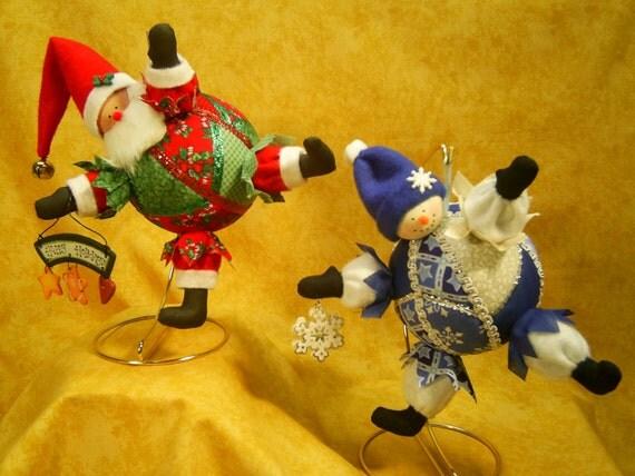Mailed Cloth Doll Pattern Santa and Snowman Ornaments