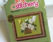 "Embroidery Crewel Kit-  DAISY Basket- JIFFY Stitchery- 4"" x 5""- NIP- New Old Stock- Sunset Designs- Homespun Wool- Wool Yarns- Instructions"