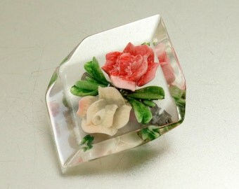 Vintage Reverse Carved Lucite Brooch Rose Brooch Pin Reverse Painted Clear Lucite Carved Lucite Carved Plastic Rose Pin 1940s