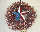 Red White and Blue Patriotic Star wreath 4th of July wreath/Memorial Day wreath Americana decor Summer Front door decor Polka Dot barn star