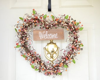 Welcome wreath Heart shaped wreath Artificial berries Old Barn Wood Welcome sign Front door decoration Year round wreath