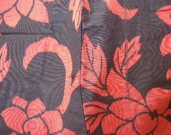Vintage kimono S38, meisen, black, red  kimono, silk, awase