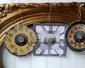 3 Clock Christmas ornaments antique vintage clock face images French Farmhouse Cottage Chic Christmas N24