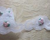 Embellished WHITE Rose Bud Flower Lace Ribbon Trim Christening Doll Bridal