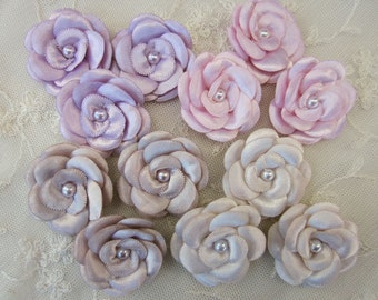 12pc Satin Ribbon Pearl Beaded Rose Flowers HAND DYED Pink Lavender Ivory Taupe Christening Baby Doll Bridal Hair Accessory Bow