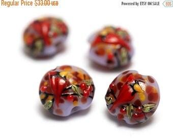 ON SALE 30% OFF Glass Lampwork Bead Set - Four Autumn Red Cardinal Lentil Beads 11007712