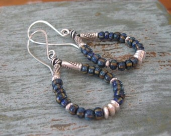 Blue Stripe Seed Bead Teardrop Earrings