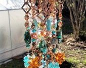 Crystal Wind Chime, Copper Magic Wind Chime, Copper and Turquoise, Outdoor Decoration, Indoor Decoration