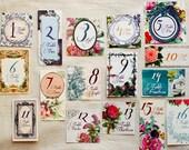 Secret garden table numbers