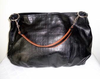 Kate Landry ex large hobo bag carry all satchel purse, shoulder bag black/ brown crock textured  leather vintage 90 s pristine cond