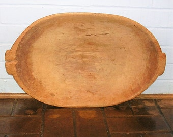 Antique Hand Carved Wooden Dough Bowl Trencher Vintage Farm Decor