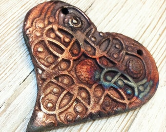 188. My Heart Burns for You Heavy Textured Porcelain  Raku Heart Pendant