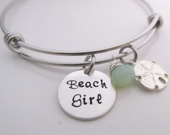 Beach Girl Bracelet - bangle bracelet - Sand Dollar Bracelet - Charm Bracelet -
