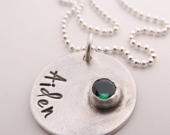 Mother's Jewelry - Hand Stamped Necklace - Custom birthstone jewelry  - Birthstone Necklace  sterling silver - Personalized Necklace