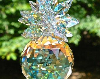 "Aurora Borealis Pineapple Suncatcher, 30mm Swarovski Ball Topped with Swarovski Octagons, Hanging Crystal Prism Suncatcher - ""ISABELLA AB"""