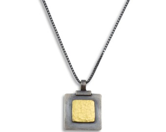 Fused Gold Square within Square Necklace