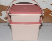 Tupperware Square Away Lunch Box PINK  w/ Handle
