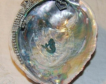 Rhinestone Mermaid Treasure Dish with Vintage Jewelry Abalone Shell Shabby and Chic Paris Apartment