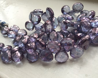 Super Sparkly Blue Mystic Quartz, 10 mm Heart Shaped Briolette Gemstone Beads, Parcel of 10
