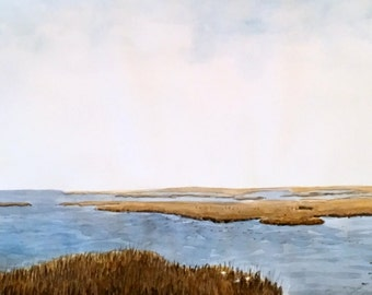 """Original watercolor painting peaceful estuary wall art by Paige Smith-Wyatt 16"""" x 34"""""""