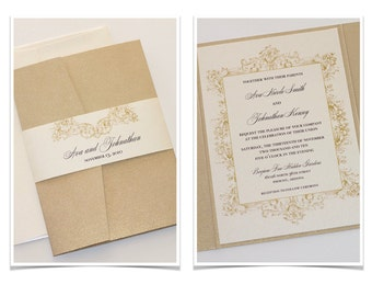 Vintage Wedding Invitation - Elegant Wedding Invitation - Rustic Wedding Invitation - Lace Invitation Ivory Gold Wedding Invite - Ava Sample