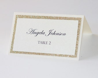 Glitter Place cards - Wedding Place cards - Glitter Escort cards - Wedding table decor - Gold glitter and Ivory